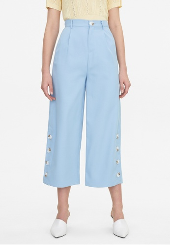 Pomelo blue Button Accent Wide Leg Pants - Blue 7C82CAAB8403FBGS_1