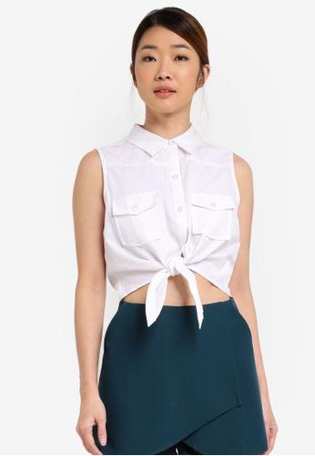 Something Borrowed white Tie Front Sleeveless Shirt 282E7AA4E3E898GS_1