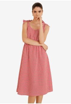 860b937520b Mango red Gingham Check Cottoned Dress 318A1AA2EFB83CGS 1
