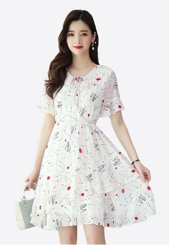 Halo white Floral Printed Chiffon Dress 7C9E7AAC4D49EFGS_1