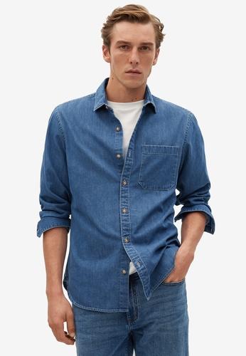 Mango Man blue Regular-Fit Chambray Lyocell-Blend Shirt 3D9E8AAC7A63F6GS_1