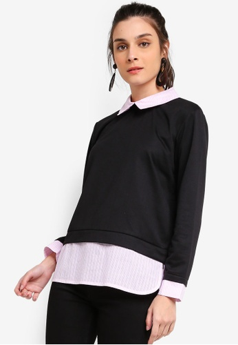 ZALORA 黑色 and 粉紅色 Mixed Materials Sweatshirt 80B1CAA8036216GS_1