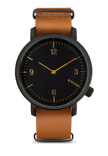 KOMONO black and brown Magnus II Black Cognac Watch KO163AC0T0SKMY_1