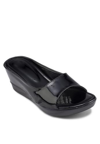 漆esprit outlet台北皮厚底楔形涼鞋, 女鞋, 楔形涼鞋