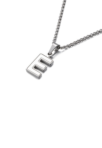 Glamorousky white Fashion and Elegant English Alphabet E Shell 316L Stainless Steel Pendant with Necklace EB5DDAC963E15BGS_1