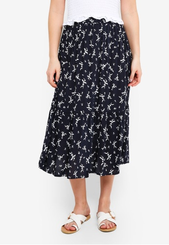 Cotton On navy Woven Cherry Midi Skirt B37FEAA46071FFGS_1