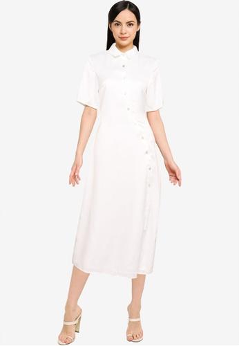 MISSGUIDED white Shaped Placket Short Sleeve Shirt Dress AA558AA7915F0FGS_1