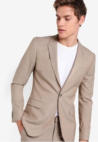 Topman 灰色 斜紋修身西裝外套 TO413AA41VASMY_1
