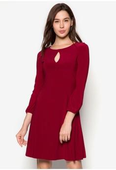 Red Keyhole Swing Dress