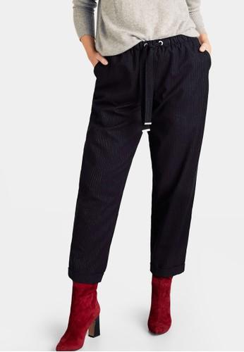 Violeta by MANGO blue Plus Size Chalk-Stripe Trousers C18B2AA435EC33GS_1
