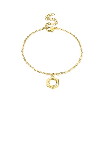 Glamorousky white Fashion Simply Plated Gold Hollow Geometric Bracelet 95ABCAC2632115GS_1