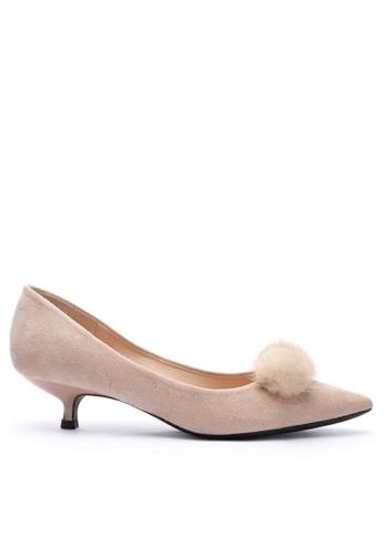 Twenty Eight Shoes 5CM Fur Ball Suede Fabric Mid Heel 292-31 0CF58SH192F405GS_1