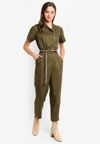 Hopeshow green Slim Fit Short Sleeve Jumpsuit with O-ring Belt 4A9A8AAB633E4BGS_1