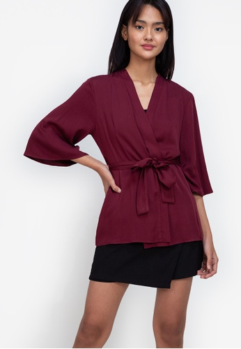 ZALORA BASICS red ¾ Sleeve Kimono Jacket F0071AAFE7CB32GS_1