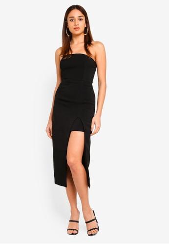 INDIKAH black Asymmetrical Hem Bustier Midi Dress 71549AA88671EDGS_1