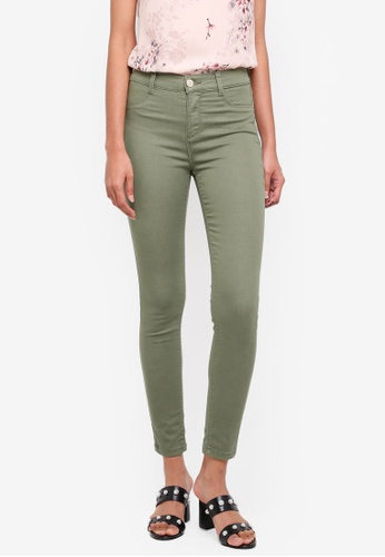 Dorothy Perkins green Khaki Frankie Ankle Grazer Pants AF740AA23B7A51GS_1