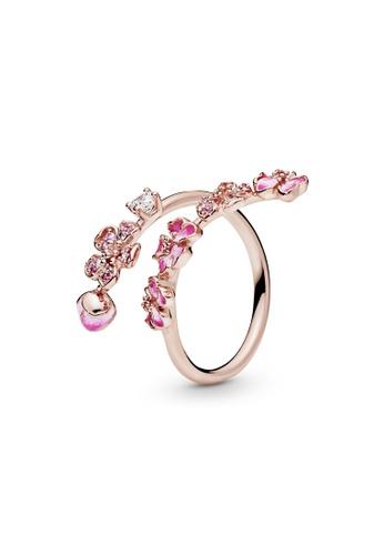 PANDORA silver Pandora Rose Pink Peach Blossom Flower Branch Open Ring DF1B0ACF8560EFGS_1
