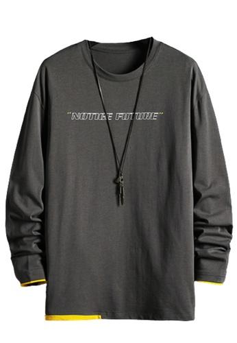 Trendyshop grey Printed Long Sleeves Tee 19409AAD38B838GS_1
