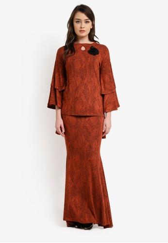 Zuco Fashion brown and orange Hi Low Midi Kurung ZU882AA0RUJYMY_1
