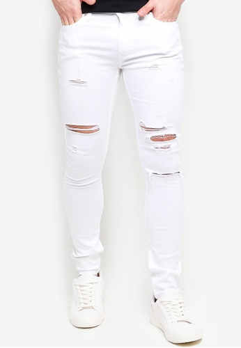Topman white White Luka Ripped Spray On Jeans 2D326AA80AD50DGS_1
