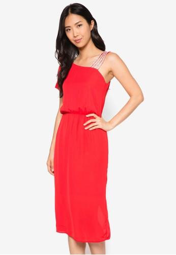 閃鑽肩帶單肩束腰洋裝, 服飾,zalora時尚購物網的koumi koumi 洋裝