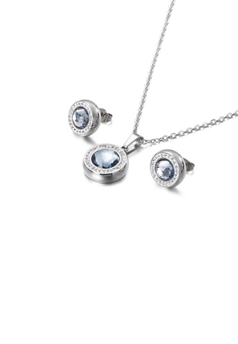 Glamorousky white Fashion Simple Geometric Round 316L Stainless Steel Necklace and Stud Earring Set with Grey Cubic Zirconia 9DAEFAC208355AGS_1