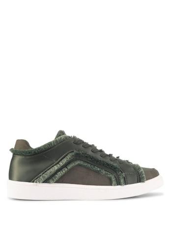 ZALORA green Raw Edge Frills Lace-Up Sneakers BFFEASH68EAFC9GS_1