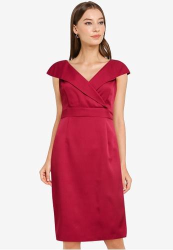 ZALORA WORK red Wide Neck Bodycon Dress 72503AAE11DB53GS_1