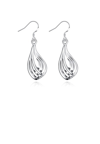 Glamorousky silver Simple Ripple Water Drop Earrings F1D0AACDC26058GS_1