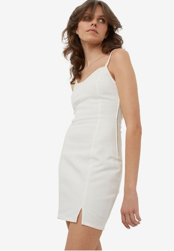 H&M white Fitted Denim Dress 0DCC5AA8C36E13GS_1