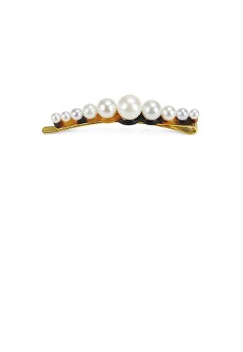 Glamorousky white Simple and Fashion Light Tortoiseshell Imitation Pearl Geometric Hair Clip 819BCAC29CB2AEGS_1