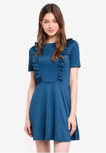 Something Borrowed green Fit & Flare Ruffle Knit Dress 898F3AAF9D485DGS_1