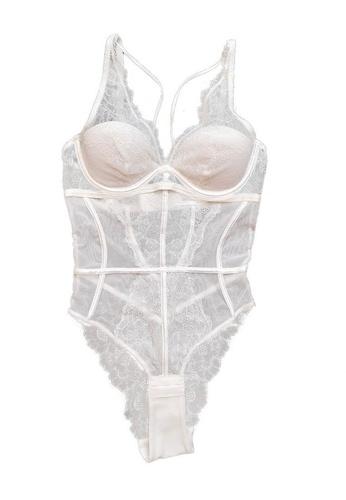 Sunnydaysweety white Lace Slim Cut One-Piece Teddy with Bra CA123101W AEE51USFA4C4ADGS_1