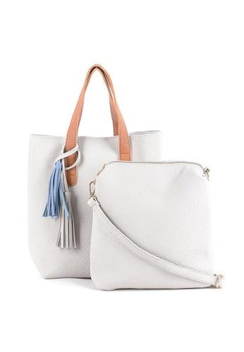 House of Bai white Korean Design Leather Tote Bag HO716AC0JI1RPH_1