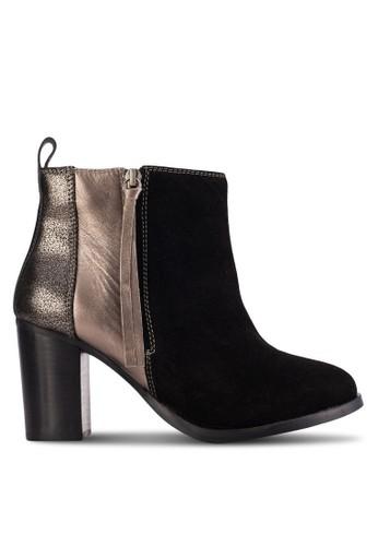 Bienzalora 鞋評價ville 金屬感拼接高跟短靴, 女鞋, 鞋