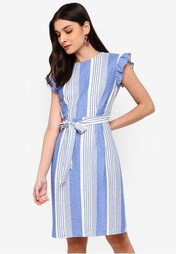 ZALORA white and blue Self Tie Shift Dress B52E8AA7A0D383GS_1