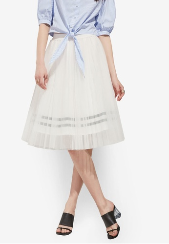 Hopeshow white Tulle Double Layer Midi Skirt C4969AAFEAE25DGS_1