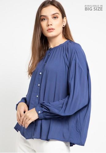 MARKS & SPENCER blue Long Sleeve Blouson Blouse 943A4AAA1E9FEEGS_1