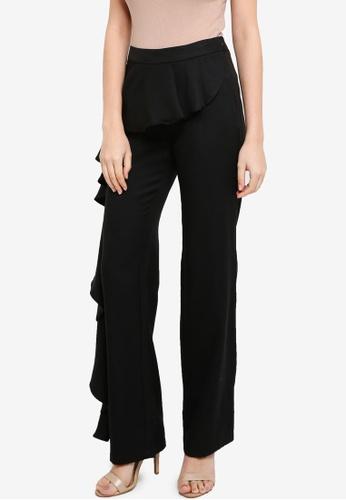 Lubna black Side Ruffles Pants 724E5AAD719269GS_1