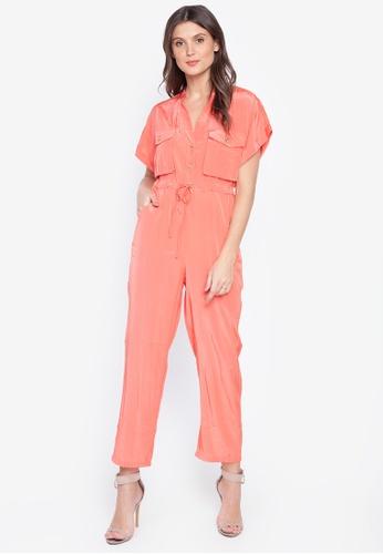Lady N orange V Neck Short Sleeve Lace Up Waist  Fashion Cargo Jumpsuit 642F0AAD62581AGS_1