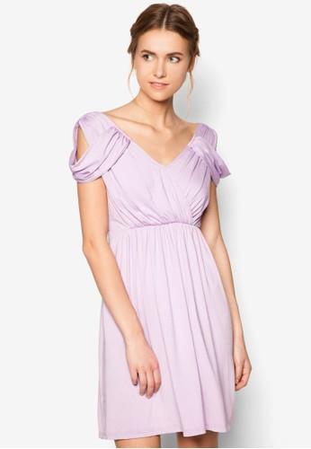 挖肩露背褶飾洋裝zalora 衣服評價, 服飾, 晚宴禮服