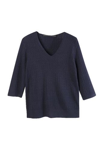 Giordano Ladies blue Small Cable V-Neck Sweater 75989AA8E2B084GS_1