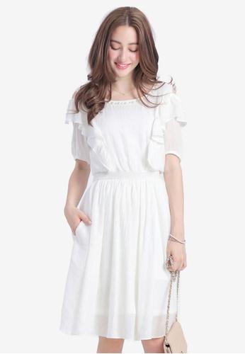 YOCO white Ruffled Dress with Pearl Neckline 2B1A4AAA13B44BGS_1