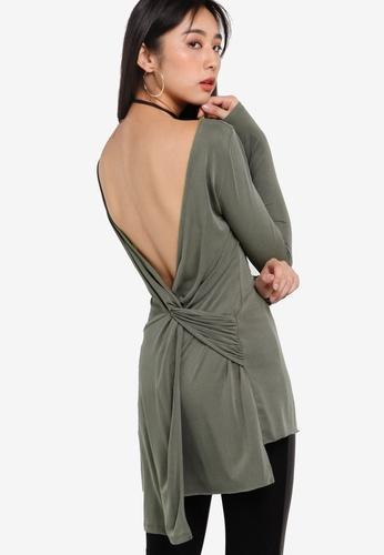 Miss Selfridge green Khaki Cupro Twist Back Tunic MI665AA82SAFMY_1
