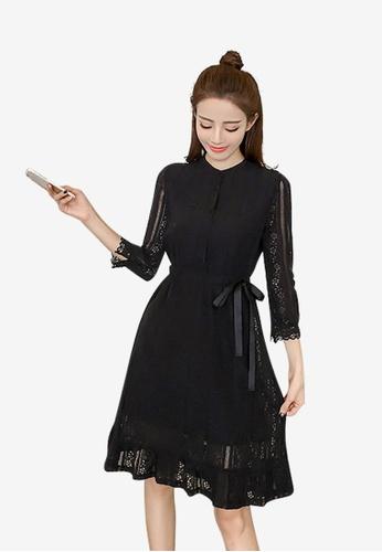 Lara black Single breasted Crochet detail 3/4 Sleeves Dress for Women B9C52AA0DF7519GS_1