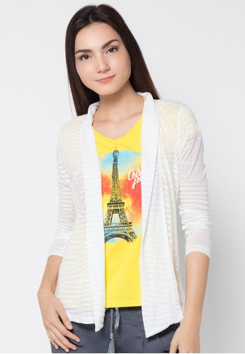 LOIS JEANS white Burn Out Cardigan LO391AA86JYRID_1