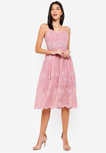 ZALORA pink Midi Dress with Embroidery E9729AA76D0173GS_1