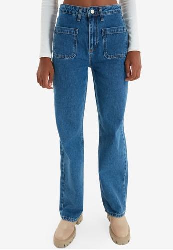 Trendyol blue High Waist Wide Leg Jeans EA49CAAB9D7267GS_1