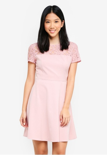 ZALORA pink Lace Panel Fit And Flare Dress 899BDAA6466ACBGS_1