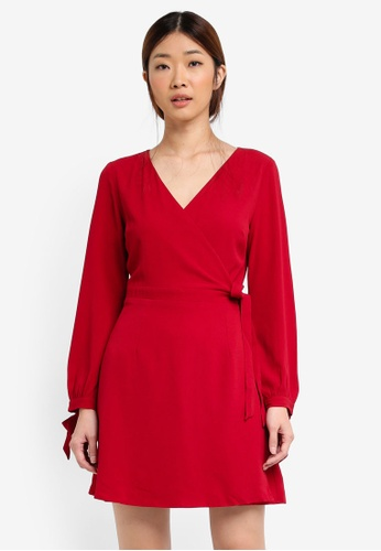 Something Borrowed red Tied Wrap Dress D4E25AAA4C2A76GS_1
